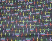 Flannel Fabric - Heart Beat Rainbow on Black - By the yard - 100% Cotton Flannel