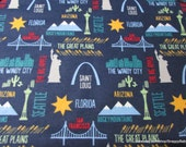 Flannel Fabric - Travel Destinations - By the yard - 100% Cotton Flannel
