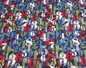 Premium Flannel Fabric - On Time Navy Numerals Premium Flannel - By the yard - 100% Premium Cotton Flannel