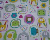 Flannel Fabric - Framed Kitty Faces - By the yard - 100% Cotton Flannel