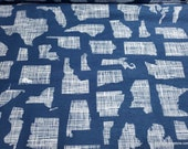 Flannel Fabric - Summer Living States - By the yard - 100% Cotton Flannel