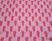Flannel Fabric - Bigfoot Print Pink - By the yard - 100% Cotton Flannel
