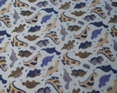Flannel Fabric - Dino Blue - By the yard - 100% Cotton Flannel