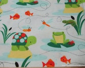 Flannel Fabric - Turtles and Frogs - By the Yard - 100% Cotton Flannel