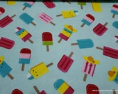 Flannel Fabric - Popsicle Fun - By the yard - 100% Cotton Flannel