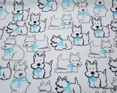 Flannel Fabric - Scotties in Aqua Bows - By the yard - 100% Cotton Flannel