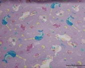 Flannel Fabric - Unicorns Narwhals Orchestra on Lilac - By the yard - 100% Cotton Flannel