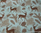 Flannel Fabric - Deer Teal - By the yard - 100% Cotton Flannel