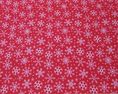 Christmas Flannel Fabric - Santa Snowflakes Red - By the yard - 100% Cotton Flannel