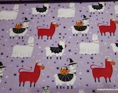 Flannel Fabric - Halloween Llamas  - By the Yard - 100% Cotton Flannel