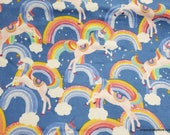 Flannel Fabric - Rainbows and Unicorns on Blue - By the yard - 100% Cotton Flannel