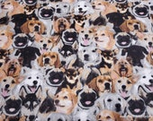 Flannel Fabric - Photo Real Dog - By the yard - 100% Cotton Flannel