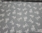 Flannel Fabric - Lambs on Gray - By the yard - 100% Cotton Flannel