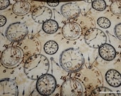 Premium Flannel Fabric - On Time Tan Time Pieces Premium Flannel - By the yard - 100% Premium Cotton Flannel
