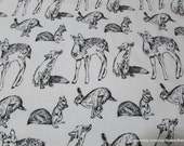 Flannel Fabric - Black and White Woodland Animals - By the yard - 100% Cotton Flannel