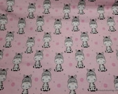 Flannel Fabric - Zebra on Pink - By the yard - 100% Cotton Flannel