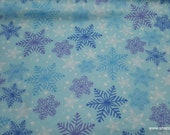 Christmas Flannel Fabric - Blue and Purple Snowflakes - By the yard - 100% Cotton Flannel