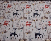 Flannel Fabric - Floral Wilderness Animals - By the yard - 100% Cotton Flannel