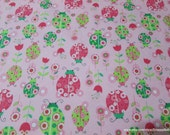 Flannel Fabric - Ladybugs and Flowers Pink - By the Yard - 100% Cotton Flannel