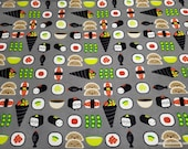 Flannel Fabric - Sushi Faces on Gray - By the yard - 100% Cotton Flannel