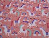 Flannel Fabric - Magic Unicorns and Rainbows - By the yard - 100% Cotton Flannel