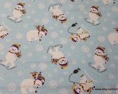 Christmas Flannel Fabric - Polar Bears Fun - By the yard - 100% Cotton Flannel