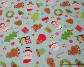 Christmas Premium Flannel Fabric - Santamain Blue - By the yard - 100% Cotton Flannel