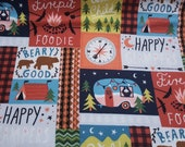 Flannel Fabric - Happy Glampers Patch - By the Yard - 100% Cotton Flannel
