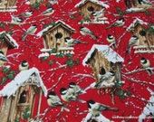 Winter Flannel Fabric - Wintry Birdhouses on Red Premium Flannel - By the Yard - 100% Cotton Flannel