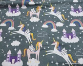 Flannel Fabric - Rainbow Unicorns and Castles on Gray - By the yard - 100% Cotton Flannel