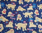 Flannel Fabric - Red White Bold Dog - By the yard - 100% Cotton Flannel