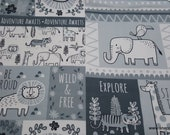 Flannel Fabric - Sweet Safari Tossed Animals Patchwork - By the yard - 100% Cotton Flannel