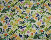 Flannel Fabric - Jumping Floral Frogs - By the yard - 100% Cotton Flannel