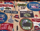 Flannel Fabric - Gone Fishing Words Brown - By the yard - 100% Cotton Flannel