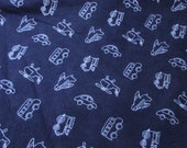 Flannel Fabric - Transport Navy Toss - By the yard - 100% Cotton Flannel