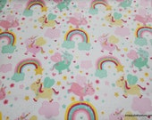 Flannel Fabric - Flying Unicorns - By the yard - 100% Cotton Flannel