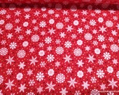 Christmas Premium Flannel Fabric - Snow Bird Snowflakes on Red Premium - By the yard - 100% Premium Cotton Flannel