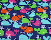 Flannel Fabric - Whales Navy - By the yard - 100% Cotton Flannel