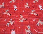 Character Christmas Flannel Fabric - Rudolph on Plaid - By the Yard - 100% Cotton Flannel