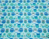 Flannel Fabric - Owl Blues - By the yard - 100% Cotton Flannel