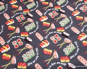 Flannel Fabric - This is How We Roll Sushi on Dark Gray - By the yard - 100% Cotton Flannel