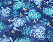 Flannel Fabric - Watercolor Sea Turtle - By the Yard - 100% Cotton Flannel