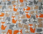 Flannel Fabric - Pretty Foxes Gray - By the yard - 100% Cotton Flannel