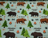 Flannel Fabric - Adventure Awaits - By the yard - 100% Cotton Flannel
