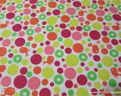 Flannel Fabric - Birds and Bubbles Pink - By the yard - 100% Cotton Flannel