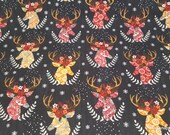 Christmas Flannel Fabric - Christmas Stag Heads - By the yard - 100% Premium Cotton Flannel