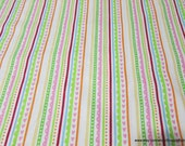 Flannel Fabric - Paisley Petal Stripes on White  - 1 yard - 100% Cotton Flannel