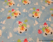 Christmas Flannel Fabric - Merry Christmas Bears on Light Blue - By the yard - 100% Cotton Flannel