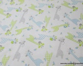 Flannel Fabric - Giraffes and Birds on White - By the yard - 100% Cotton Flannel