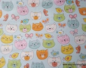 Flannel Fabric - Cat Faces on Light Blue - By the yard - 100% Cotton Flannel